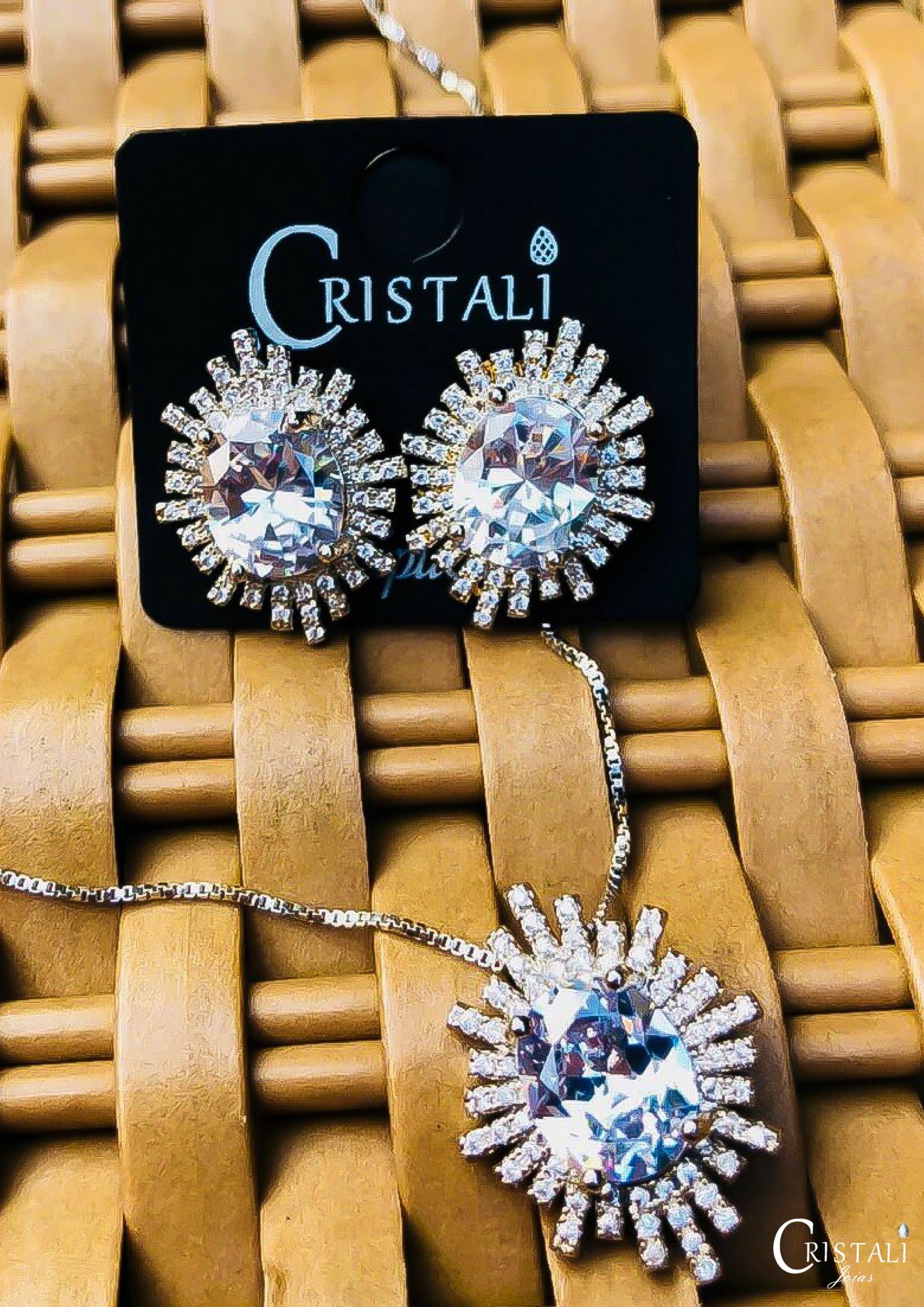 Instagram - Conjunto Cristal Zircônias em Ródio Branco