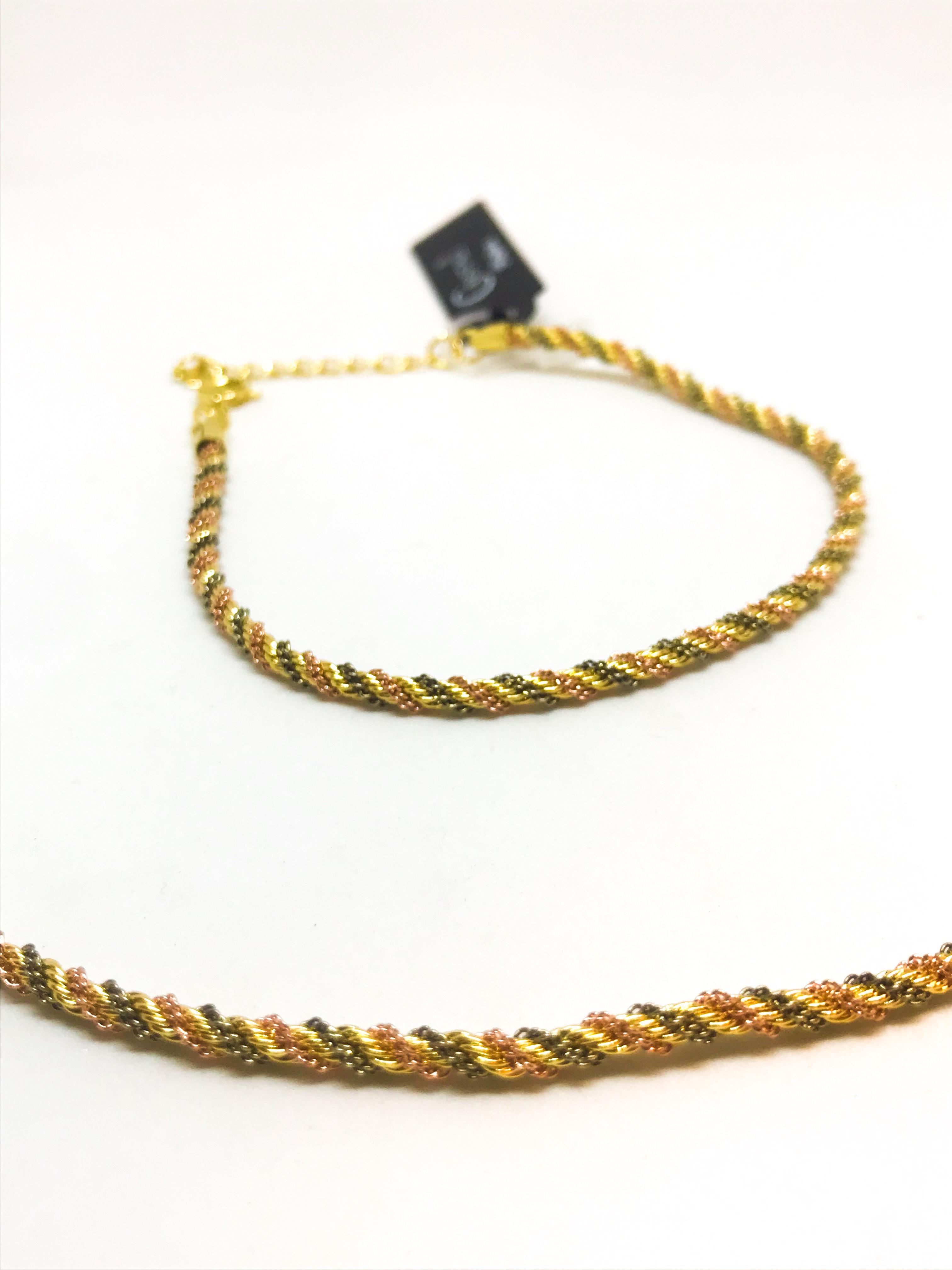 Instagram - Pulseira torcida 3 cores em Ouro Amarelo